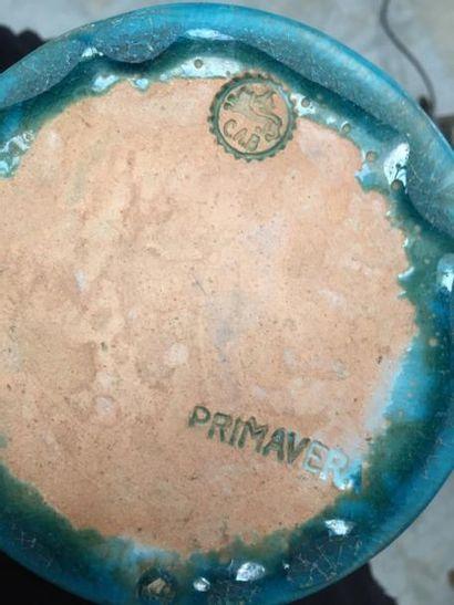 """PRIMAVERA pour C.A.B  Grand vase en céramique bleue """" Iznik """" , le haut à décor..."""