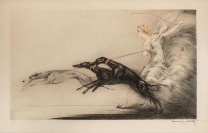 Louis ICART (1888-1950  Femme aux lévriers...