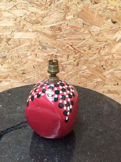 Pied de lampe années 50 en céramique rouge...