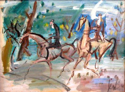 GEN PAUL (1895-1975)  Cavaliers au bois  Gouache...