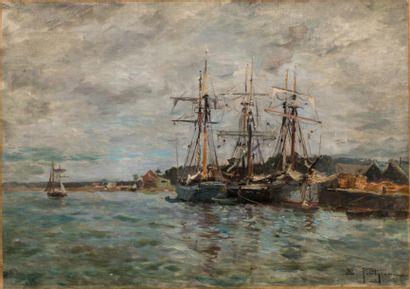 Edmond PETITJEAN (1844-1925)  Les voiliers...