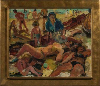 Olivier FOSS (1920-2002)  La plage  Huile...