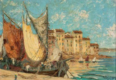 Henri BARGIN (1906-1980)  Bateaux au port...