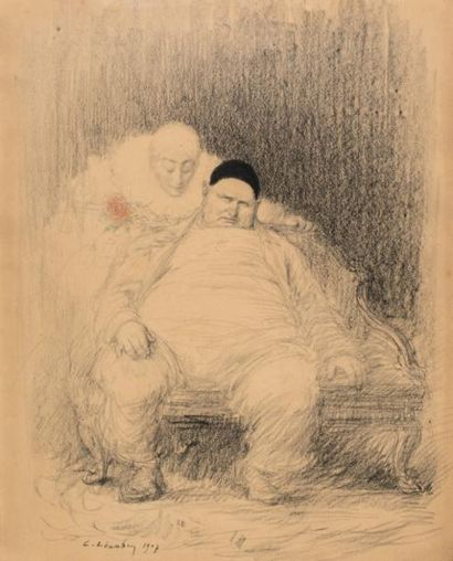 CHARLES LÉANDRE (1862-1934)  DEUX CLOWNS...