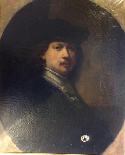 D'après REMBRANDT  Portrait  huile sur toile...