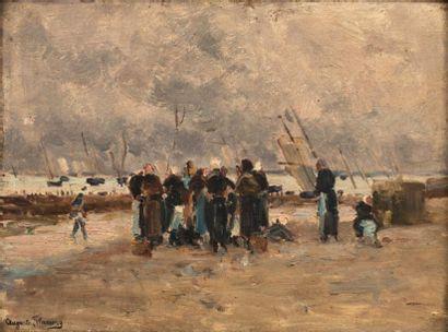 FLAMENG Auguste (1843-1993)   La criée  huile...