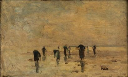 FLAMENG Auguste (1843-1993)  peche à pied...
