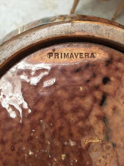 """PRIMAVERA  Vase à large panse et petit col ourlé, en céramique à décor de """" vagues..."""