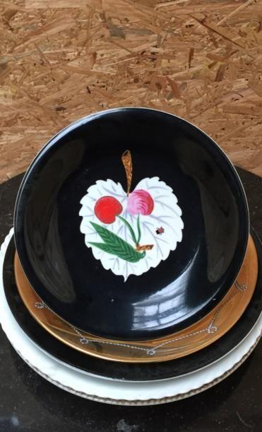 """Colette GUEDEN (1905-2000) pour Primavera  5 assiettes décoratives  """" Cerises et..."""