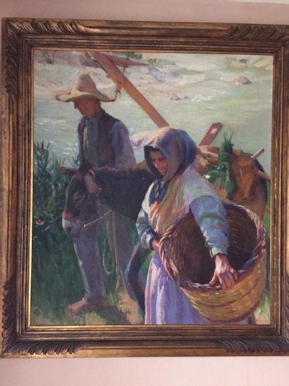 Grand tableau XIXème siècle, huile sur t...