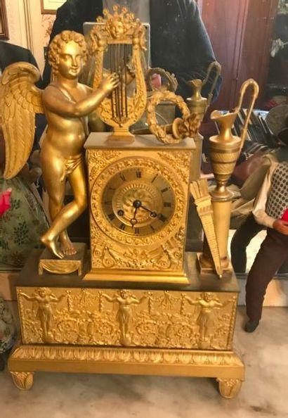 Pendule en bronze doré XIXème siècle