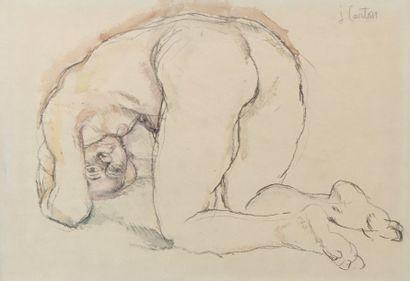 Jean CARTON (1912-1988)  Nue la tête en bas...