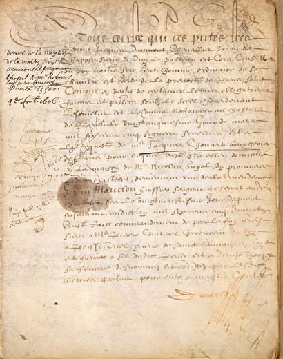 Acte de vente notarié datant de 1606 au nom...