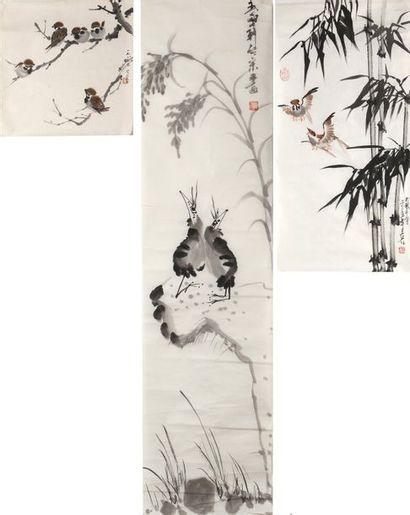 Chine, XXe siècle  Quatre peintures au lavis...