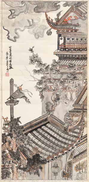 Chine, XXe siècle  Peinture verticale à l''encre...