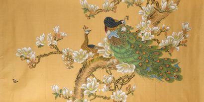 Chine, XXe siècle  Grande peinture en couleur...
