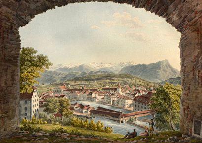 "Johann Jacob SPERLY dit l'Ancien (Bendlikon 1710 – Zurich 1841)  - ""Loggia au bord..."