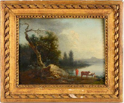 """Attribué à MOREAU Louis-Gabriel (Paris 1740-1806)  """"Paysage à la rivière avec pâtre..."""