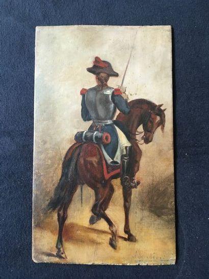 attribué à A de Neuville    Cavalier de dos...