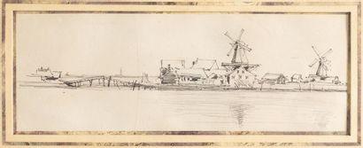 Ecole Hollandaise du XIXème siècle    Paysage...