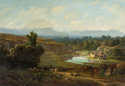 Claude Ponthus-CINIER (1812-1885)    Paysage...