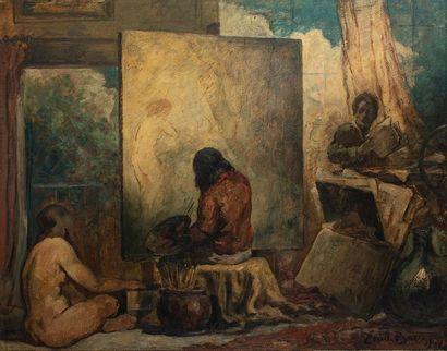 Emile BAES (1879-1954)  L'atelier du peintre...