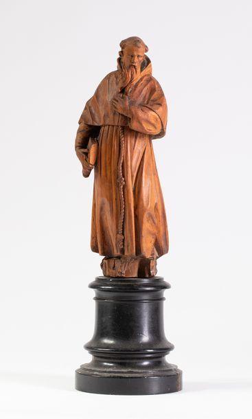 Sculpture en bois représentant un moine  ...