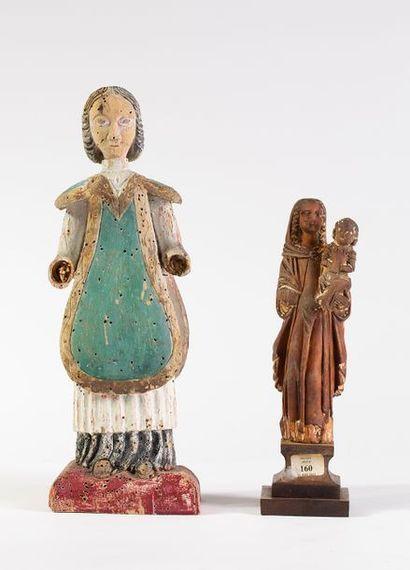 Ecclésiastique en bois sculpté polychrome...