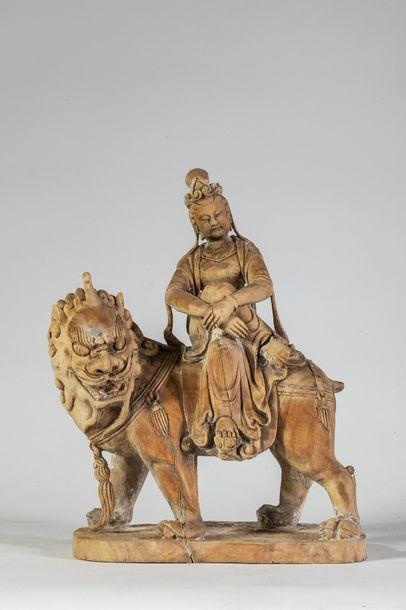 Chine Fin XIXème siècle    Guanyn assise...