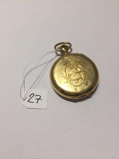 LIP    MONTRE de POCHE en or jaune (750 millièmes) monogrammé. Chiffres arabes et...