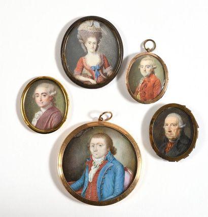 ECOLE FRANÇAISE (Vers 1795)  «Portrait d'homme...