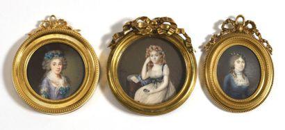ECOLE FRANÇAISE (Vers 1780 – 90 )  «Portrait...