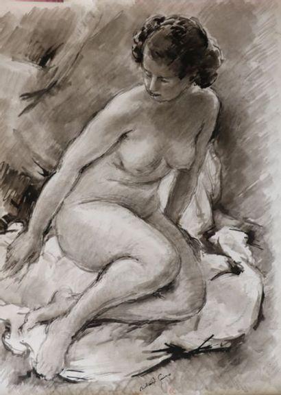 Richard GUINO  (1890-1973)  «Nu assis»  Lavis...
