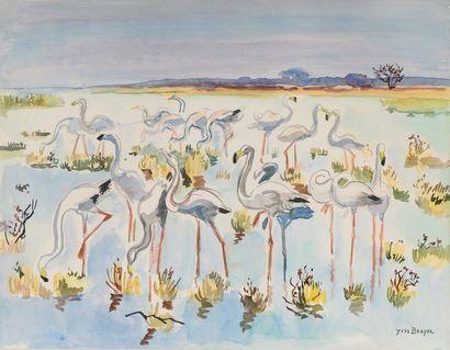 Yves BRAYER  (1907-1990)  «Les flamants roses...