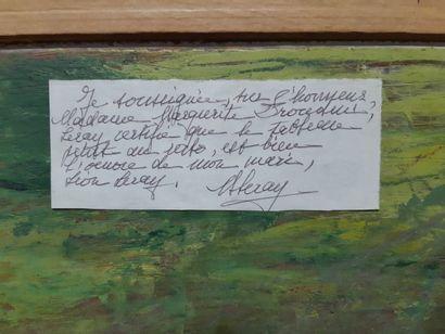"""Léon LERAY (1901-1976) """" Chapelle dans la forêt en automne"""", huile sur panneau,..."""