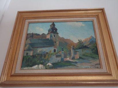 """Jean CAMBON (1912-2010) """"Le clocher dans les montagnes"""", huile sur toile, signée..."""
