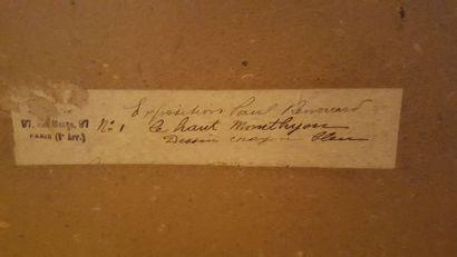"""Paul RENOUARD (1845-1924), """"Le Haut Monthyon"""", dessin au crayon bleu, signé en bas..."""