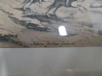 """Gravure XVIIe siècle """"Scène animée en hiver"""", d'après Joann Wilden et Andreas Stockens...."""