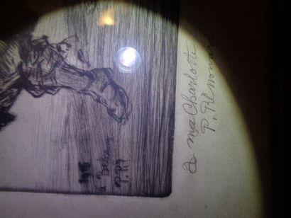 """Paul RENOUARD (1845-1924), """"Les Poilus"""",estampe (gravure sur cuivre) encadrée, signée..."""