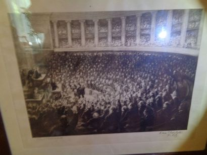 """Paul RENOUARD (1845-1924), """"A l'assemblée Nationale"""",estampe (gravure sur cuivre)..."""