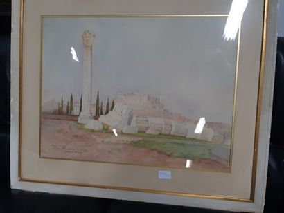 """Warden ROMPEAN(XIX/XX) """"Athènes, vue de l'Acropole"""", aquarelle, skigné en bas oà..."""