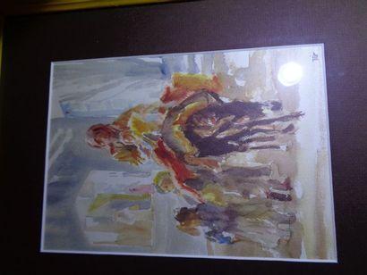 """MIR (Xxe siècle) """" Famille sur un mulet"""", gouache, signée en bas à droite. 20x14,5cm...."""