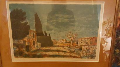 """Roland OUDOT (1897-1981) """"Paysage de Provence"""", estampe, signée en bas à droite..."""