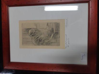 """Pierre BONNARD (1867-1947) """"Le Graveur"""", eau forte originale. 20 x 11,5cm. Enca..."""