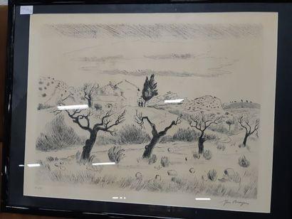 """Yves BRAYER (1907-1990) """"Paysage de Provence"""", estampe, signée en bas à droite et..."""