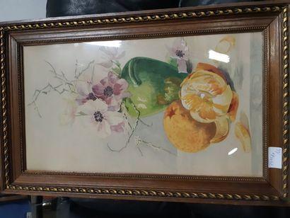 """P. HEMMEN (XIXe siècle) """"Nature Morte au Bouquet d'anémones et aux oranges"""", aquarelle,..."""