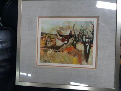 """Raymond PRÉAUX (1916-1997) """"Vieilles Maisons"""", gouache sur papier, signée en bas..."""