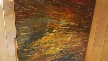 """Catherine BOUILLET """"Composition"""", huile sur toile, signée en bas à gauche et datée..."""