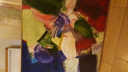 """Catherine BOUILLET """"Composition"""", huile sur toile, signée en bas à droite . 61 x..."""