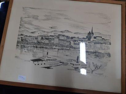 """G PICOT (XX) """"Village en bord de Seine (?)"""" estampe, signée en bas à droite et datée..."""